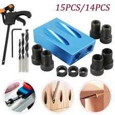 Tornillo agujero 14/15x15 ° Bolsillo Jig Tool Kit de madera conjunto de espiga Taladro Localizador de agujero de ángulo