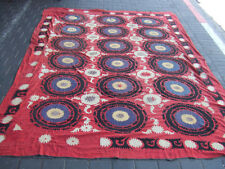 ANTIQUE UZBEK SILK HAND MADE- EMBROIDERED SUZANI 263x200-cm / 103.5x78.7-inches