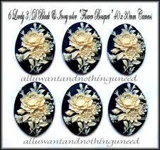 6 Unset Ivory color Org Floral Bouquet on Black 40mm x 30mm Cost. Jewelry Cameos