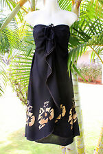 Black Brown Hibiscus Hawaiian Strapless Vertical Ruffle Butterfly Short Dress