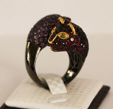 Butler and Wilson Leopard Panther Rhodolite Amethyst Gold Silver Ring Size O NEW