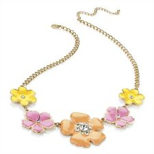 GOLD TONE NECKLACE YELLOW PINK ORANGE ENAMEL FLOWERS CRYSTAL DETAIL FESTIVAL NEW
