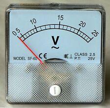 AC Analog Volt Meter 0 to 25 VAC Panel Mount PM025-AC