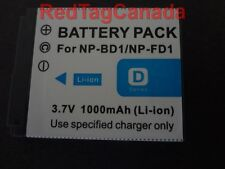 Battery for Sony NP-BD1 NP-FD1 DSC-TX1 T900 T90 T700 1000mAh - Canada