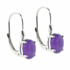 925 Silver Lavender Jade Oval Lever-Back Earrings