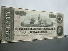Gorgeous Civil War Confederate States $20 Note, Twenty Dollar Bill, Csa 1864