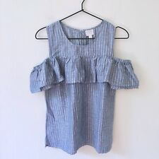 NWT NEW J.Crew Cold Shoulder Ruffle Top Blue White Stripe Linen Blend Size 0