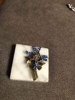 Vintage Czech Czechoslovakia Blue Rhinestone Glass Brooch Pin!