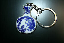 KEY RING SILVERTONE ORIENTAL BLUE WHITE REMINESCENT OF MING DYNASTY VASE