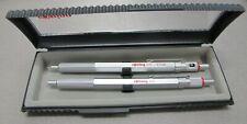 Rotring 600 Silver Hexagonal Knurled Grip Ballpoint Pen & Pencil Set New In Box