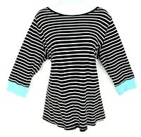 Onque Casual Top Shirt Womens Size 1X Black White Blue Striped 3/4 Sleeve Soft