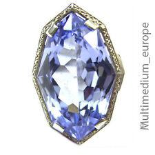 Grand art deco argent Bague bleu topaze poncé 30er silver blue topaz