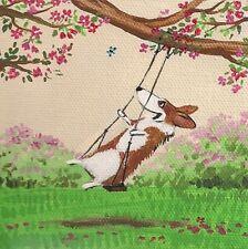 4X4 Print Of Painting Pembroke Welsh Corgi Folk Art Ryta Whimsical Fantasy dog
