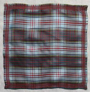 Vintage Handkerchief MENS Hankie Top Pocket Square TARTAN PALE BLUE RED