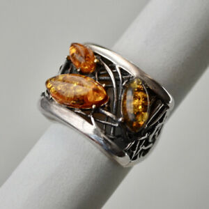 *Vintage Sterling Silver AMBER Organic Design Ring SIZE 6.5