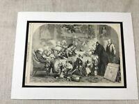 1856 Stampa Vittoriano Natale Famiglia Scena John Gilbert Antico Originale