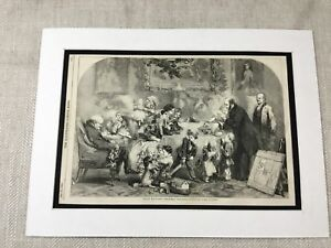 1856 Print Victorian Christmas Family Scene John Gilbert Antique Original