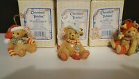 Cherished Teddies Ornaments-Set of 3-Red, Green and Holly Hats