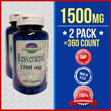 2 Pack Resveratrol Capsules HIGH-1500MG Polygonum Cuspidatum Diet Supplement USA