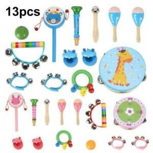 13pcs Wooden Musical Instruments Toys Children Toddlers Percussion For Kids Baby