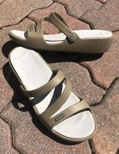 New Womens Crocs Patricia Mini Wedge Sandals Khaki & Pearl Slides Size W8