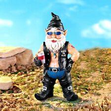 "Biker Motorcycle Gnome Funny Statue Figurine Yard Lawn Garden Art Ornament 12""H"