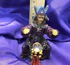 Handpained Wizard Incense Burner Purple Robes Blue Crown Crystal Ball New