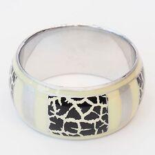 Neu METALL ARMREIF mit Animal Muster in silberfarben/beige/schwarz ARMBAND 3,7cm