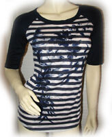 NEW Womens Jersey T-Shirt Tee Top Shirts S Navy Blue White Striped Floral Print