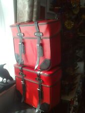 Pair (2) Bicycle/Bike Rear Panniers Vintage/Retro Style Black/Red Straps VGC