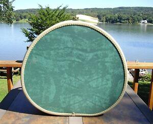 "Vintage Samsonite 5120 BERMUDA GREEN MARBLE 18"" Round Suitcase Hat Box w/ KEY"