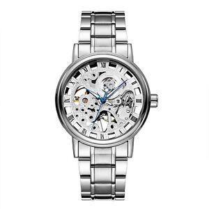 Mens Mechanical Stainless Steel Band Hand Winding Analog Skeleton Luxury Watch