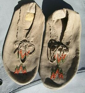 Sioux Indian hand sewn leather moccasins slippers