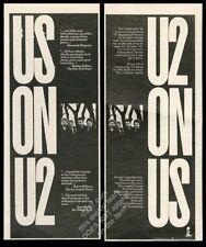 1985 U2 photo North American Tour city list vintage print ad