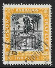 Barbados 1907 Nelson Centenary 2d. Black & Yellow SG 161 (Used)