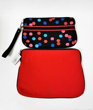 FOSSIL SET OF 2 ABBOTT POUCH COATED RED,BLACK POLKA DOT CANVAS WRISTLET,BAG