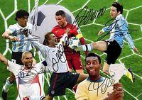 Lionel Messi Christiano Ronaldo Pele Maradona Soccer Autograph Signed A4 Poster
