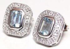 Natural Aquamarine Fine Diamond Earrings
