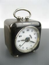 Vintage WWII ALARM CLOCK Germany Brass Case Ceramic Dial for restoration