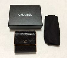 CHANEL Authentic CC Logos Quilted Wallet Purse  Leather Black
