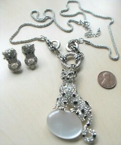 Duchess of Windsor inspired Crystal PANTHER atop Ball NECKLACE & EARRING SET
