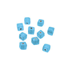 6mm Opaque Light Blue Shiny Plain Glass Cube Beads Pack of 10 (r17/2)