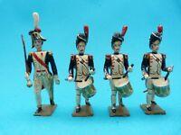CBG MIGNOT - Premier empire - 4 soldats de plomb tambours des grenadiers