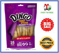 Dingo Twist Sticks with Peanut Butter, Rawhide Chew 25 Ct