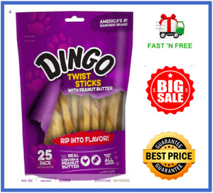 Dingo Twist Sticks with Peanut Butter, Rawhide Chew 25 Ct