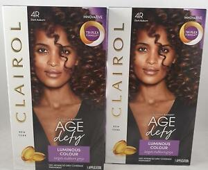 2 x Clairol Age Defy Permanent Hair Dye 4R Dark Auburn