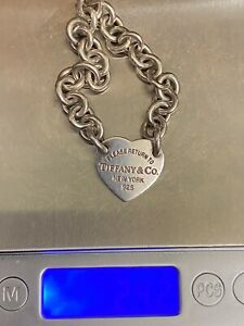 Genuine Tiffany & Co. Silver .925 Bracelet Heart Charm Please Return to Tiffany