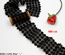 Beautiful Black Cotton Guipure/Venise Circle Eyelet Galloon Lace Trim (6 cm)—1 M