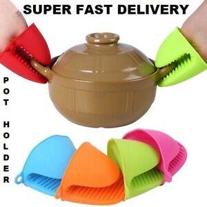 2 Pot Holder Silicone Mitt Gloves Heat Resistant Mitten Kitchen BBQ Oven Cooking