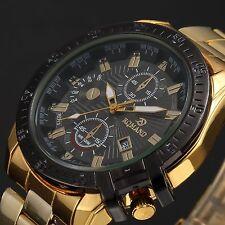 Mens Luxury Gold Stainless Steel Black Dial Date Quartz Analog Wrist Watch New